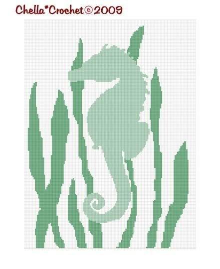 Seahorse Seaweed Ocean Afghan Crochet Pattern Graph