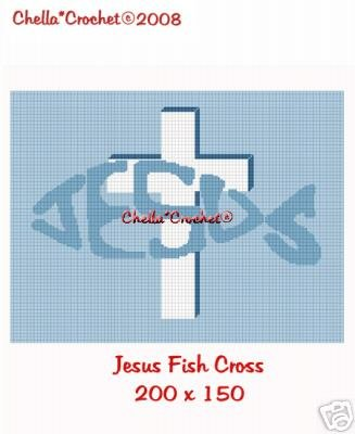 Jesus Fish Cross Christian Afghan Crochet Pattern Graph