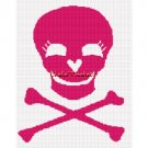 PINK Skull CrossBones Afghan Crochet Pattern Graph