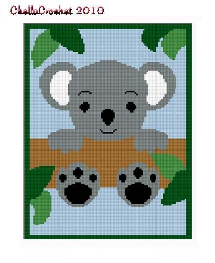 Baby Koala Bear Tree Afghan Crochet Pattern Graph 100st