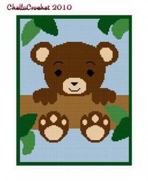 Teddy Bear  in Tree Afghan Crochet Pattern Graph 100st