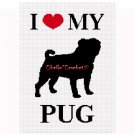 I Love My Pug Dog Afghan Crochet Pattern Graph