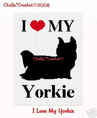 I Love My Yorkie Dog Afghan Crochet Pattern Graph