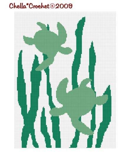 Sea Turtles Seaweed Ocean Afghan Crochet Pattern Graph