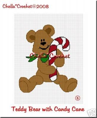 Teddy Bear Candy Cane Afghan Crochet Pattern Graph