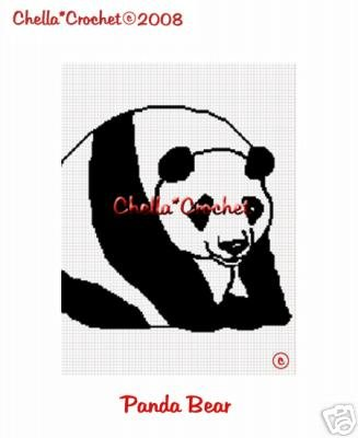 Giant Panda Bear  Afghan Crochet Pattern Graph
