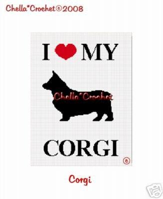I Love My Corgi Dog Afghan Crochet Pattern Graph