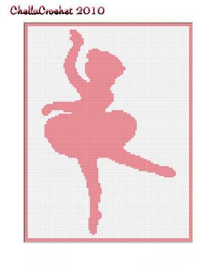 Pink Girl Ballerina Afghan Crochet Pattern Graph 100st