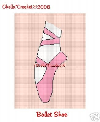Ballerina Shoe Slipper Afghan Crochet Pattern Graph