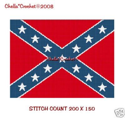 Confederate Rebel Flag  Afghan Crochet Pattern Graph