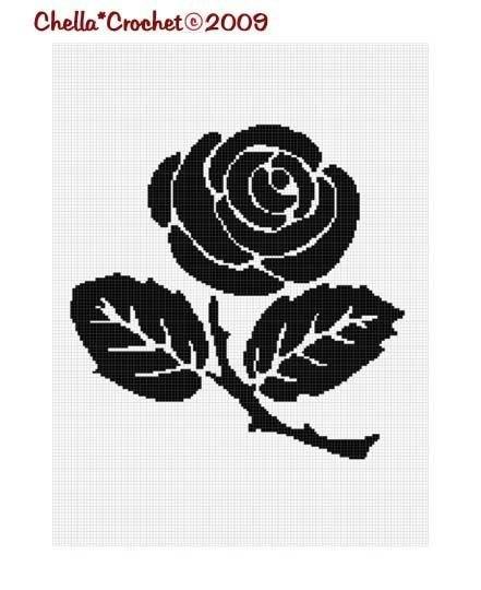 Rose Silhouette Easy Afghan Crochet Pattern Graph