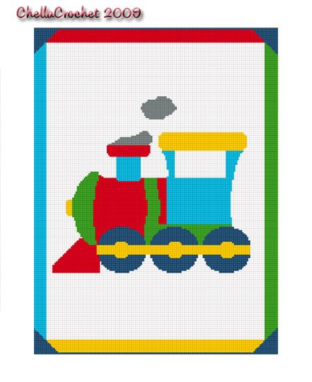 Toy Choo Train Easy Baby Afghan Crochet Pattern Graph