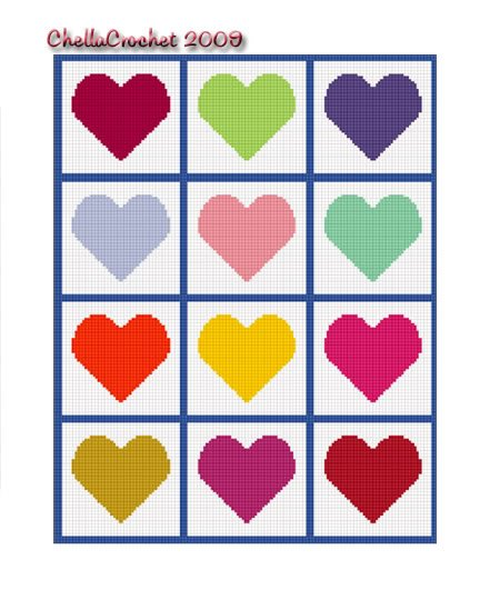 Hearts for Scraps Baby Afghan Crochet Pattern Graph