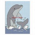 Dolphin Porpoise Splashing  Afghan Crochet Pattern