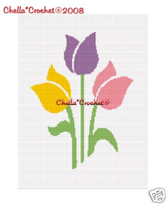Spring Colors Tulips Afghan Crochet Pattern Graph