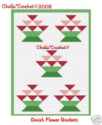 Amish Flower Quilt Look Afghan Crochet Pattern Graph