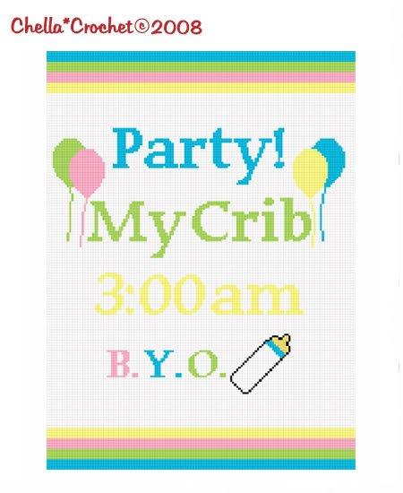 Party My Crib BYO Bottle Afghan Crochet Pattern Graph