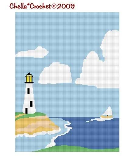 LIghthouse #2 Afghan Crochet Pattern Graph