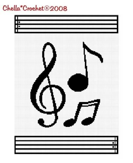 Musical Notes Music Afghan Crochet Pattern Graph