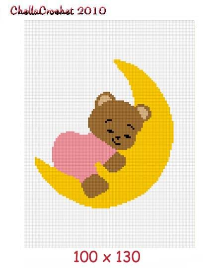 Teddy Bear on Moon Afghan Crochet Pattern Graph 100st P