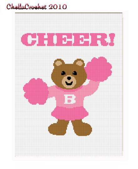 Cheer! Cheerleader Bear Afghan Crochet Pattern Graph