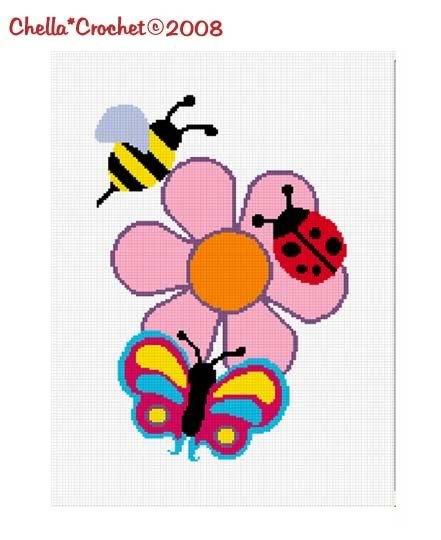 Ladybug, Bee, Butterfly Afghan Crochet Pattern Graph