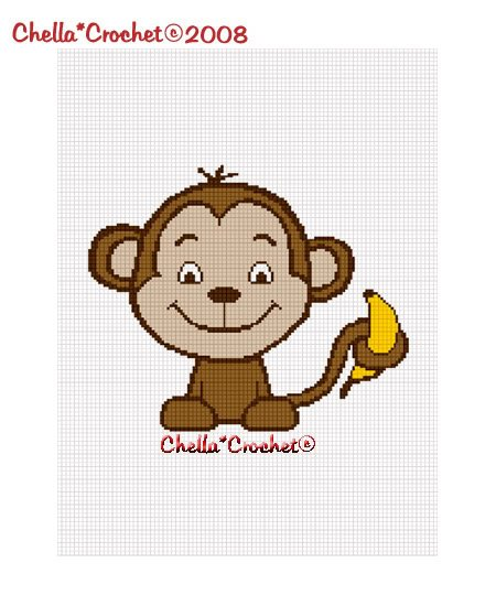 Baby Monkey with Banana Afghan Crochet Pattern Graph