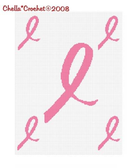 Breast Cancer Awareness Ribbons Afghan Crochet Pattern
