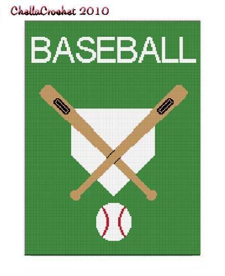 Baseball Bat Ball Plate Afghan Crochet Pattern Graph