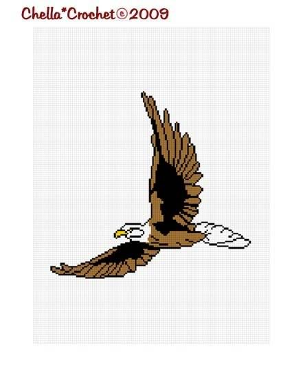 American Bald Eagle Fly Afghan Crochet Pattern Graph