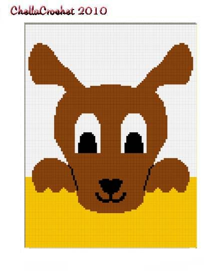 Hang on Kangaroo Afghan Crochet Pattern Graph 100st