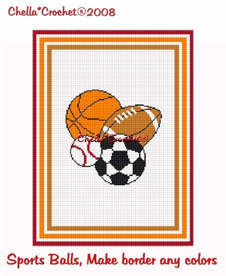 Sports Balls  Afghan Crochet Pattern Graph