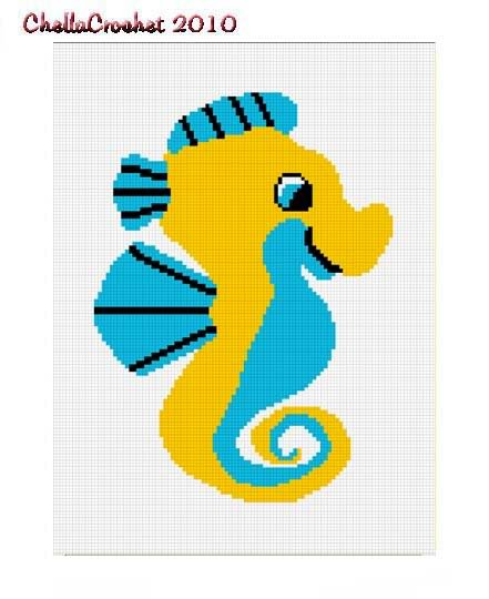 Bright Baby Seahorse Afghan Crochet Pattern Graph 100st