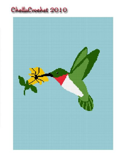 Ruby Throated Hummingbird Afghan Crochet Pattern Graph