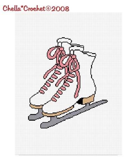 Ice Skates Skating Afghan Crochet Pattern Graph