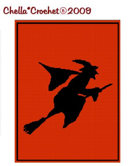 Witch Silhouette Halloween Afghan Crochet Pattern Graph