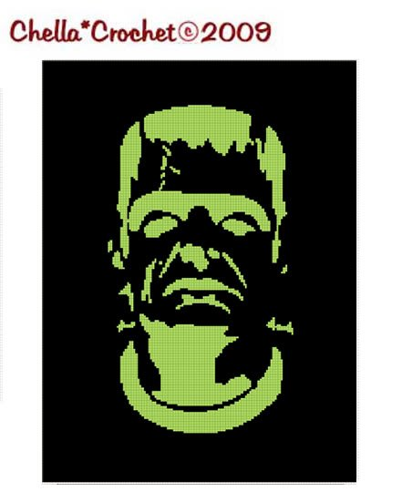 Frankenstein Halloween Afghan Crochet Pattern Graph