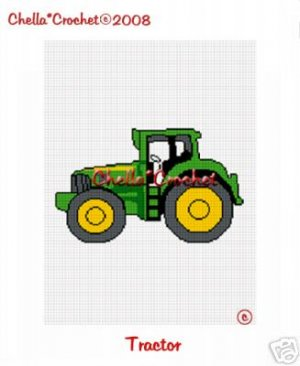 Green Yellow Tractor Afghan Crochet Pattern Graph