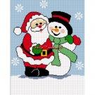 Santa Claus Frosty Snowman Afghan Crochet Pattern Graph