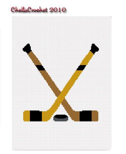 Hockey Sticks Crossed Puck Afghan Crochet Pattern Graph