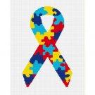 Autism Puzzle Ribbon Afghan Crochet Pattern Graph