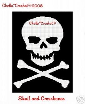 Skull CrossBones Pirate  Afghan Crochet Pattern Graph