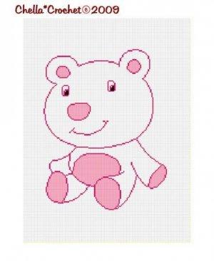 Baby Pink Polar Bear Afghan Crochet Pattern Graph Chart