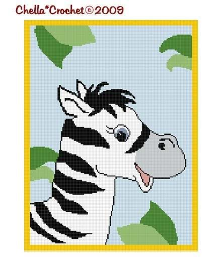 Baby Zebra Afghan Crochet Pattern Graph Chart 150st