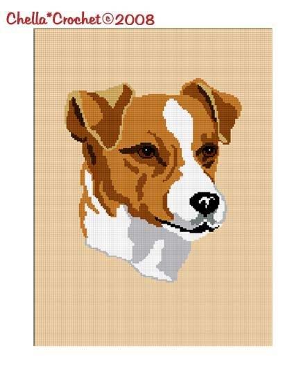 Jack Russel Terrier Dog  Crochet Pattern Afghan Graph