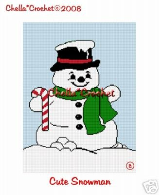Christmas Snowman so Cute Afghan Crochet Pattern Graph