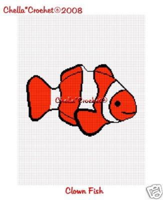 Clown Fish  Afghan Crochet Pattern Graph