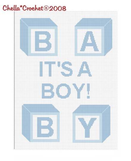 It's a Boy Baby Blocks Afghan Crochet Pattern Graph