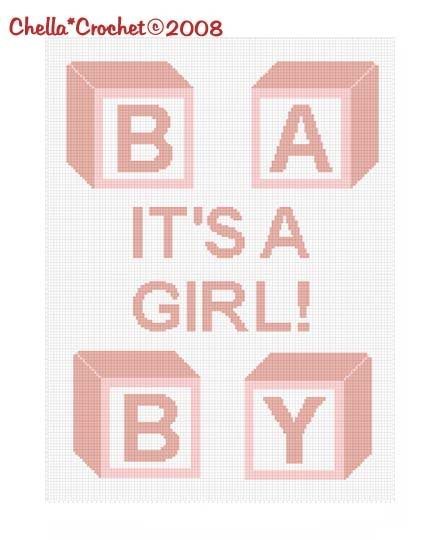 It's a Girl Baby Blocks Afghan Crochet Pattern Graph