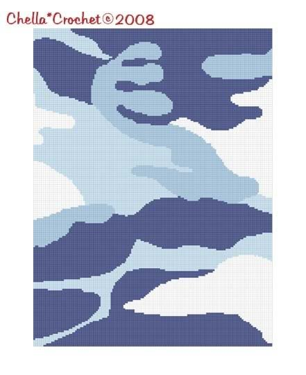 Camouflage Blue Camo Afghan Crochet Pattern Graph